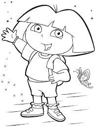Children Dora The Explorer Coloring Book On Style Picture Page