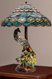 Ebay Antique Table Lamps by Tiffany Style Peacock U0027s Hallow Double Lit Stained Glass Table Lamp