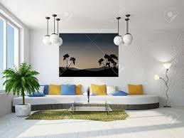 livingroom with big sofa near the wall