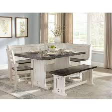 Two Tone French Country 5 Piece Corner Dining Nook