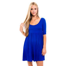 Womens Royal RayonSpandex Baby Doll Dress M Blue Products
