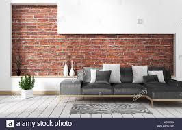 wohnzimmer loft einrichtung mit sofa und wand muster