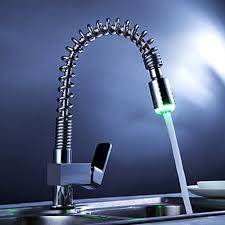 single handle pull kitchen faucet with color changing led