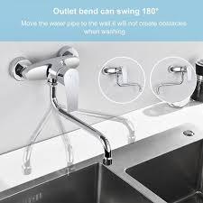 wandarmatur einhand spültischbatterie küchenarmatur mit langem auslauf zur aufputz wandmontage einhebel armatur in chrom kalt und heiß wasserhahn