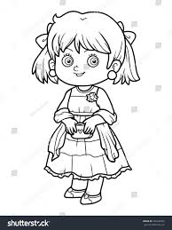 Coloring Book For Children Girl In A Dress