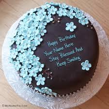 Flowers Chocolate Birthday Cake With Name 1758