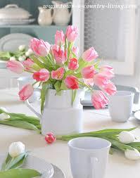 Spring Table Setting Tulip Centerpiece Flower Arrangement Floral Decor