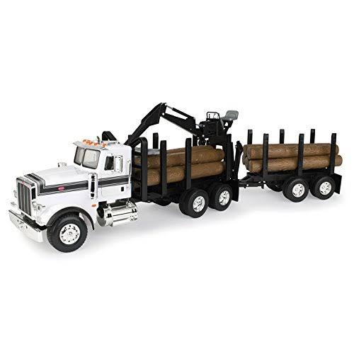 Tomy Big Farm Peterbilt Model Logging Truck With Pup Trailer and Logs
