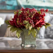 Astoria Grand Peony And Hydrangea Silk Flower Arrangement In Rustic Green Bucket Reviews