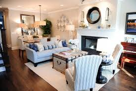 Rectangle Living Room Dining Combo Ideas Blue White Stripped Swing Back Chair