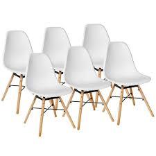 weiß 6er set skandinavisches retro design modern stühle esszimmerstühle möbel holz stahl kunststoff schale rund für wohnzimmer esszimmer küche büro