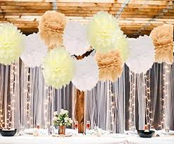 12pcs Big Size Tissue Paper Pom Flower White Tan Cream 12inch 14inch For Baby Shower Rustic Wedding Birthday Bridal Wall Decoration