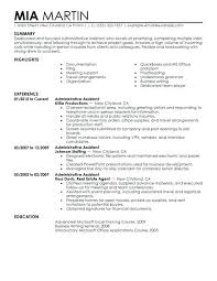 Professional Administrative Resume Assistant Example Objective