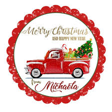 Seasons Greetings-Christmas Truck Personalized Printable 2.5