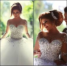 real image 2016 wedding dresses long sleeves crystal quinceanera