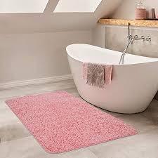 paco home moderner badezimmer teppich einfarbig hochflor badteppich rutschfest in pink grösse ø 80 cm rund