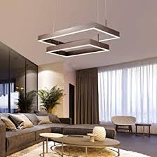 dimmbar modern led pendelleuchten höhenverstellbar esszimmer le braun kreative 2 ringe eckig hängeleuchten kronleuchter design wohnzimmer esstisch