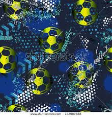 Abstract Seamless Pattern For Boys Football Grunge Urban With Ball