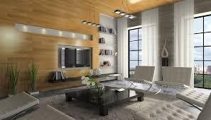 modernes wohnzimmer im penthouse mit holzpaneelen designe