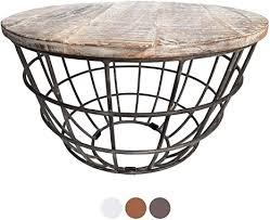 casamia couchtisch wohnzimmer tisch rund beistelltisch ø 55 cm metall drahtgestell gitter massiv color weiß gekälkt