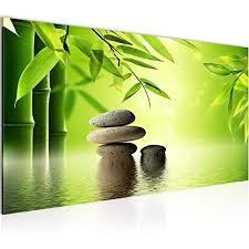 wandbilder feng shui steine modern vlies leinwand wohnzimmer flur bambus spa grün 501912a