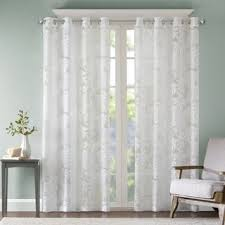 Sheer Curtain Panels With Grommets by Madison Park Kauna White Palm Leaf Burnout Lightweight Sheer