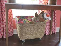 turn a plastic storage container into a mobile toy box mobile