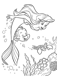 Coloring Pages Ariel Sebastian And For Girls Printable Free Line Drawings
