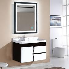 led beleuchtete wandhalterung spiegel rechteckig mit touch taste kosmetikspiegel home badezimmer dekor fr wish