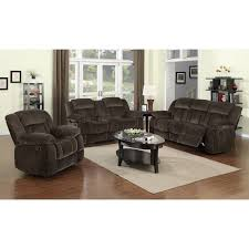 Poundex 3pc Sectional Sofa Set by Sunset Trading Madison 3 Piece Reclining Living Room Set