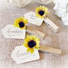 Sunflower Wedding Place Card Holder Rustic Wooden