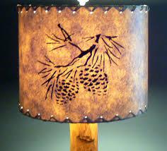 Pine Cone Drum Lamp Shade Stenciled Paper Rustic Cabin Decor Western