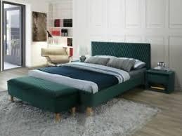 details zu polsterbett doppelbett grün samt 160x200 schlafzimmer luxuriös bank nachttisch