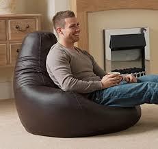 bean bag bazaar designer recliner aus kunstleder braun gaming sitzsack sitzsäcke für erwachsene 90cm x 73cm groß sitzsäcke für das wohnzimmer