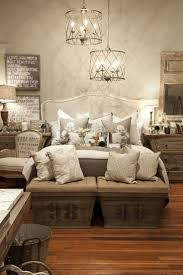 Furniture Rustic Chic French Country Bedrom With White Bed And Grey Pillows Brown Wood Bench Seat Also Vanity Tablw Small Wall Mirror