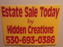Watch For Yellow Hidden Creations Estate Sale Signs
