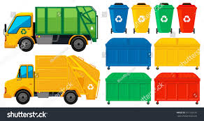 100 Rubbish Truck S Cans Many Colors Illustration Stock Vector Royalty