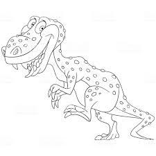 Coloriage De Dessin Animé Tyrannosaure Cliparts Vectoriels Et Plus