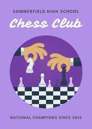 Purple Checkered Chess Club Flyer