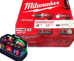 Milwaukee Tool United Kingdom Power by Bundle 2 Tools Milwaukee 18 Volt Compact Drill Impact Driver