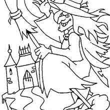Enchanteress In A Haunted Castle Flying Halloween Witch Coloring Page