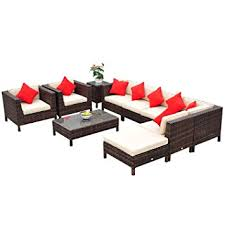 Amazon Outsunny 9 Piece Outdoor PE Rattan Wicker Sectional