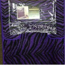 complete bath accessory set black purple zebra animal print bath