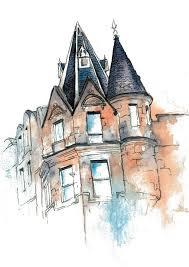 Check Out Original Gdansk Poland Building Landscape Watercolor Art Print Poster