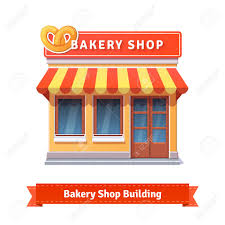 Bakery shop building facade with signboard Flat style illustration or icon EPS 10 vector