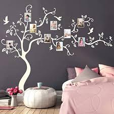 wandtattoo baum mit bilderrahmen und vögeln fotobaum wandsticker kinderzimmer weiß 160 cm hoch x 200 cm breit