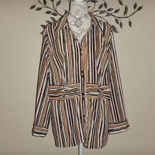 Maggie Barnes Womens Plus Size 1X 18/20W Brown Ivory Striped ... Maggie Barnes Womens Blouse Black Purple Beaded Semi Sheer Plus Size Boatneck Maxi Bright Pink Unlined Wrinkle Fabric Floor Top 4x Mosaic Sparkly Bling Stretch 1x Lined Brown 34 Sleeve Career Right Fit Pant Curvy Catherines Poncho By 3x 26w 28w Cditioning Customer Support Dress Red Purple Jacket Blazer Appliques Button Down 7443 Best My Posh Picks Images On Pinterest Pockets Sweaters