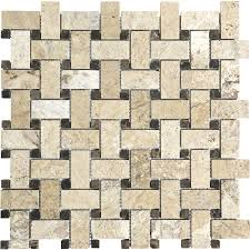 shop pablo travertine mosaic basketweave wall tile