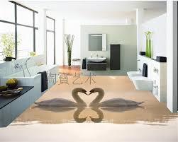 2018 beautiful swan 3d dimensional painting painted floor tiles 3d