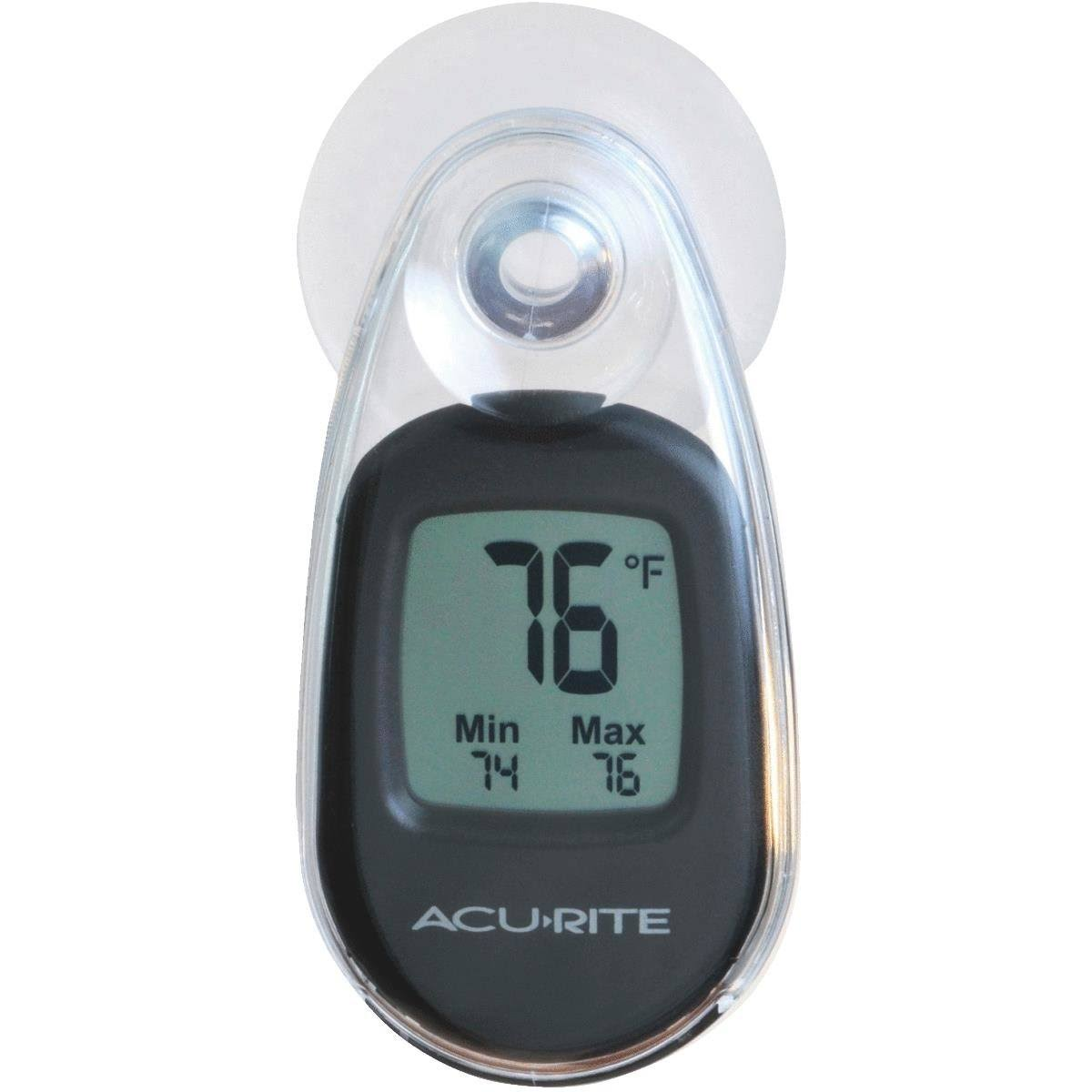 AcuRite Indoor Outdoor Suction Cup Digital Thermometer - Black